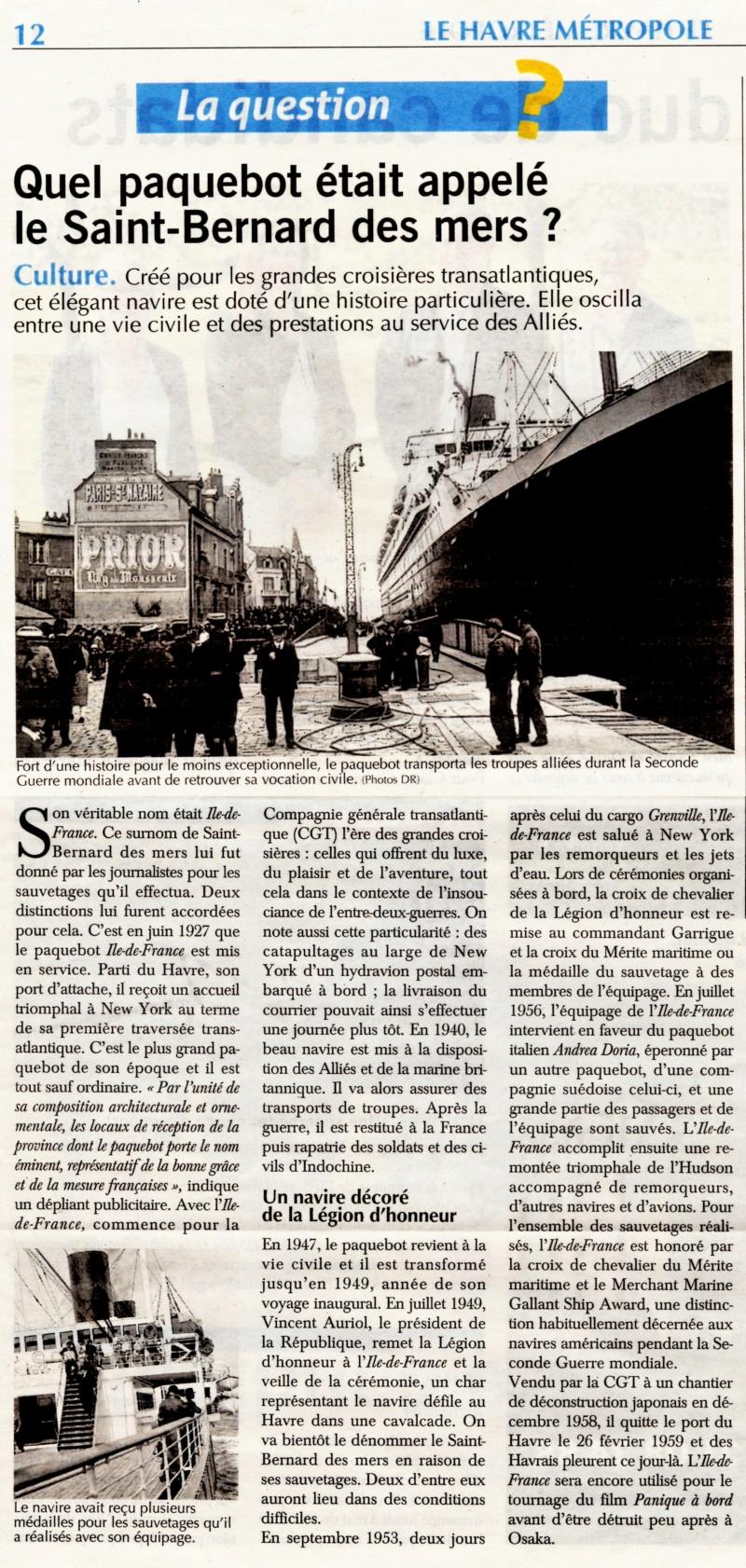 Le paquebot Ile de France, Saint-Bernard des mers 2021-039