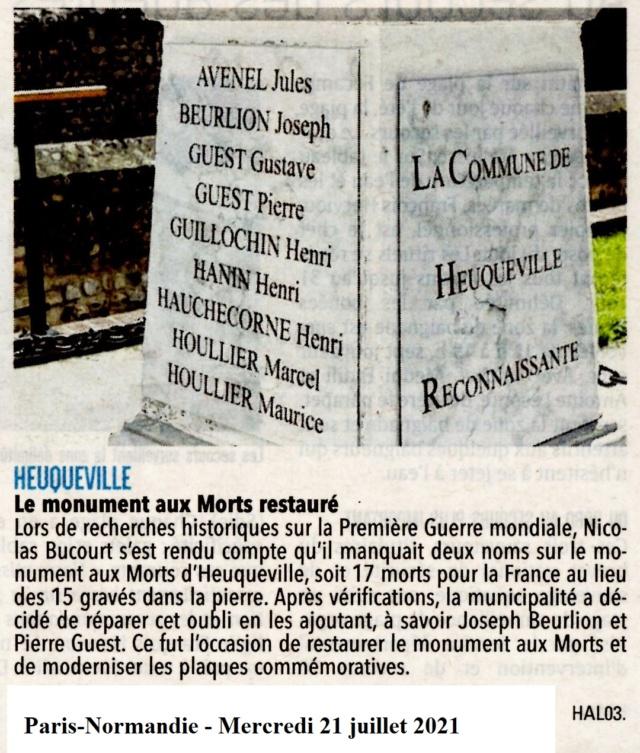 Le monument aux Morts d'Heuqueville restauré 2021-045