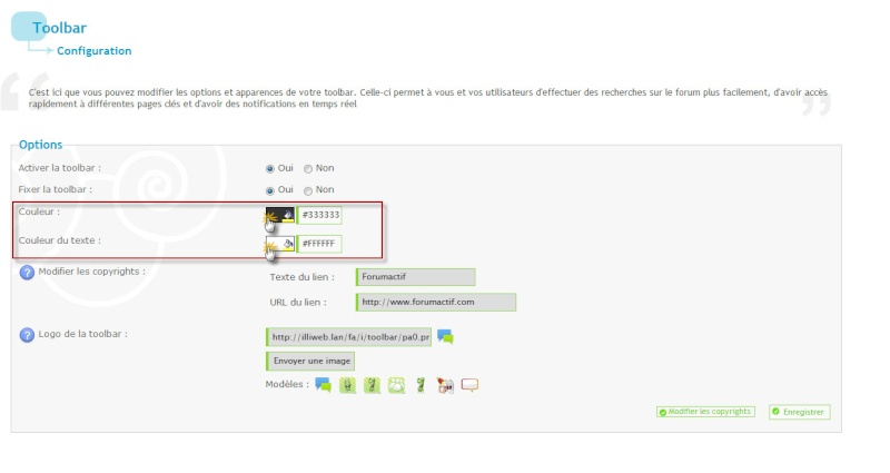 Fonctionnement de la Toolbar et des Notifications  Couleu10