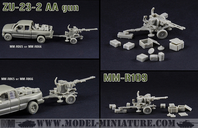 T-34 D-30 de 122mm, ZU-23-2, chenilles, chez Model Miniature Zu10