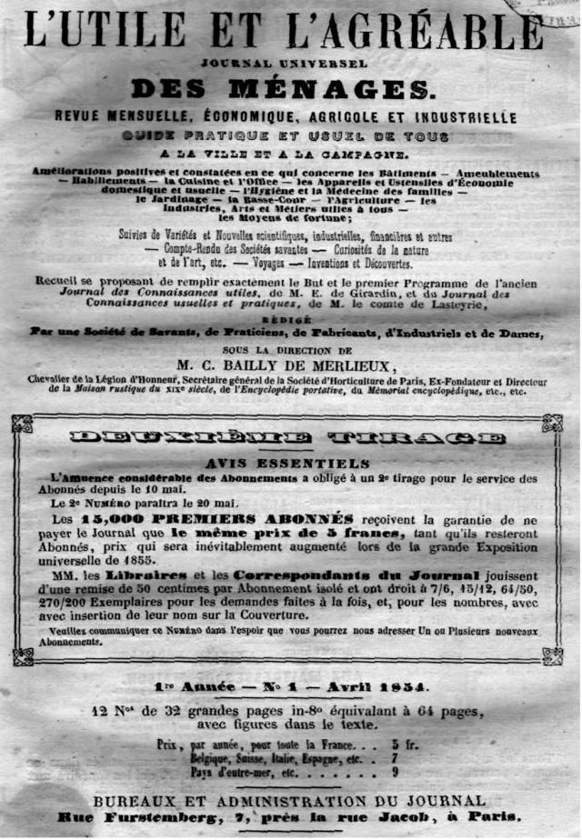 L'Utile et l' Agréable - 1854 Utile123