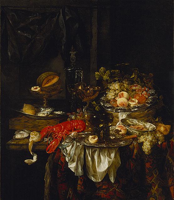 Naturaleza muerta de un banquete con un ratón-Abraham van Beyeren Abraha10