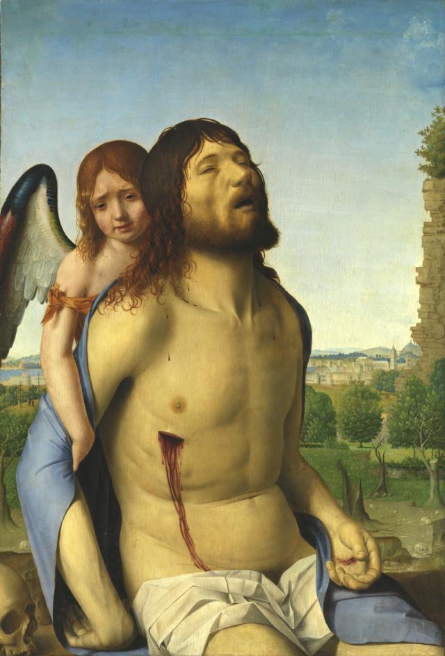 Cristo Muerto Sostenido por un Ángel-Antonello da Messina Cristo10