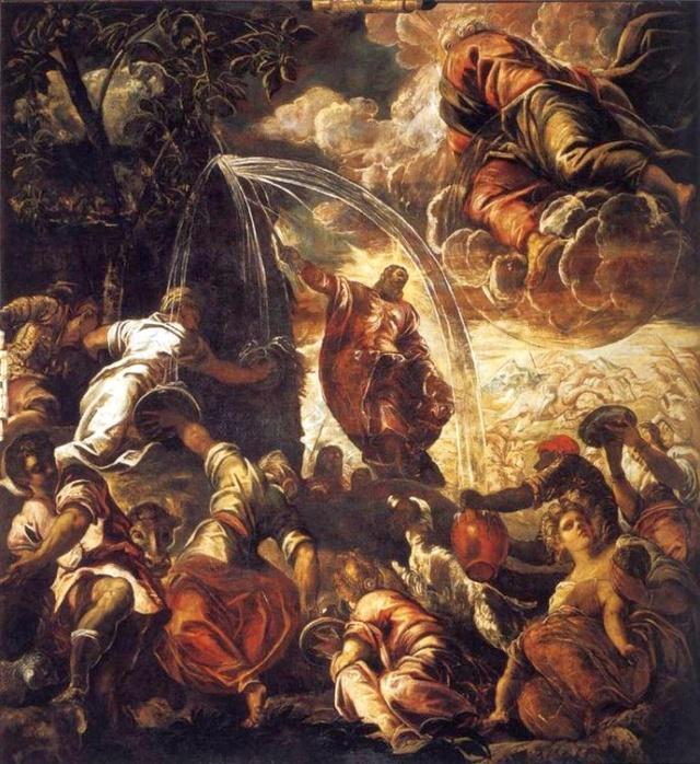 Moisés hace Manar Agua de la Roca. Tintoretto File-t10