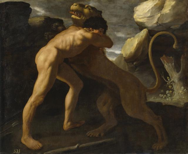 Lucha de Hércules con el León de Nemea. Zurbarán Hzorcu10
