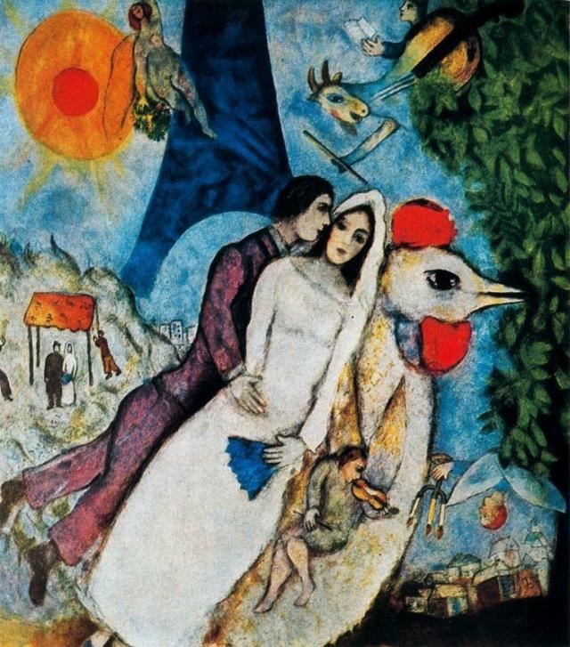 Los recien casados de la Torre Eiffel. Marc Chagall Los-re10