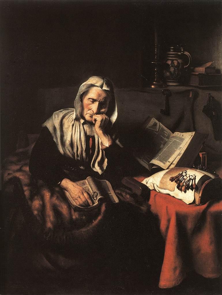 Anciana dormitando de  Nicolaes Maes Maes_o10