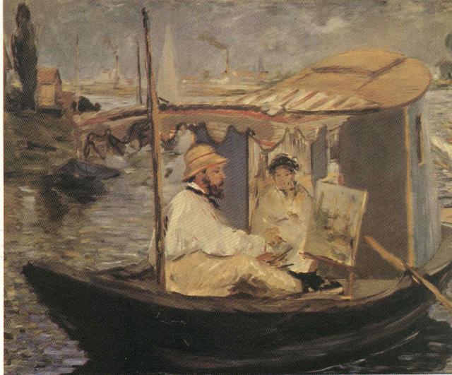 Claude Monet y su esposa en su estudio flotante, de Edouard Manet Nov71410