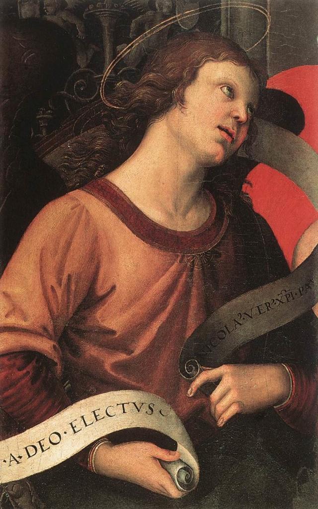 Pintura:Ángel (Fragmento del retablo Baronci) Raffae10
