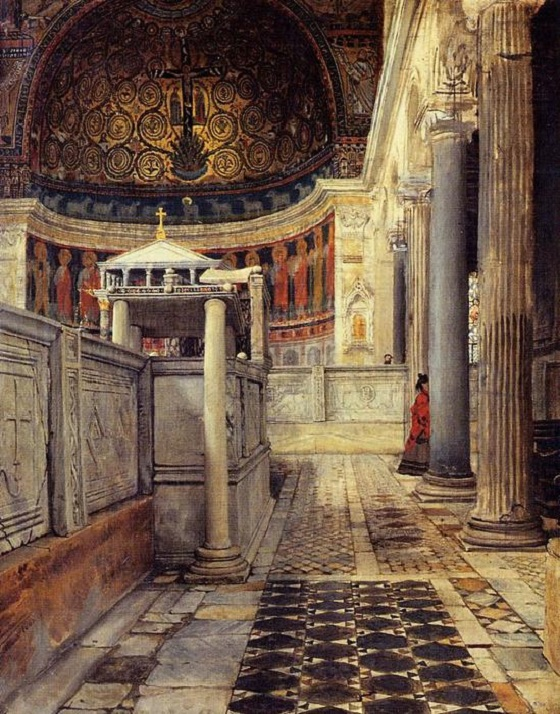 Interior de la Iglesia de San Clemente , Roma- Lawrence Alma-Tadema Sir-la12