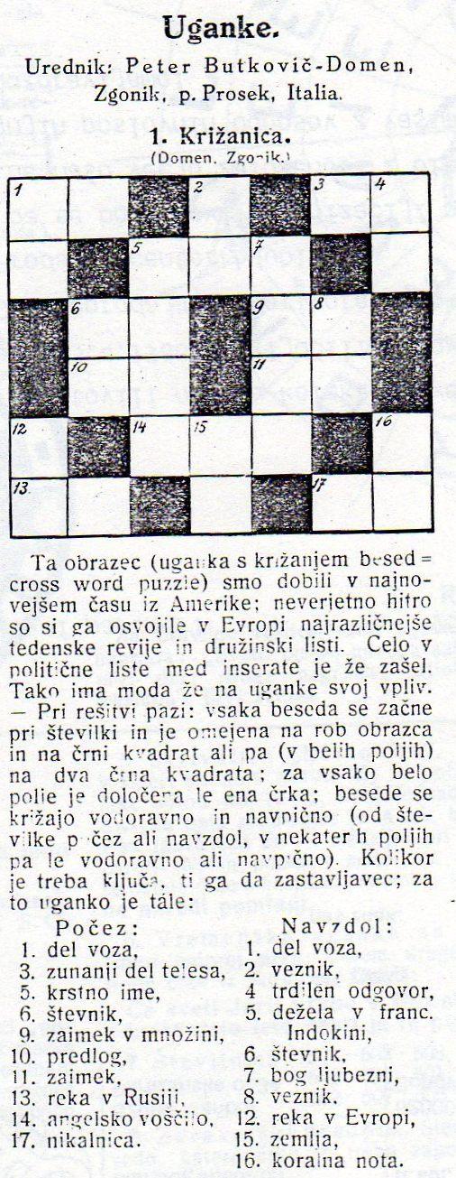 Първата словенска кръстословица 1vaslo10