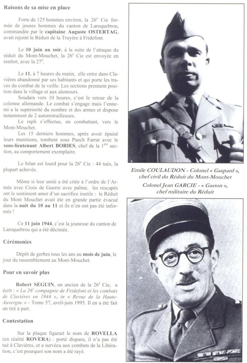 Le MONT-MOUCHET, haut lieu de la Résistance - Page 2 Clavie16
