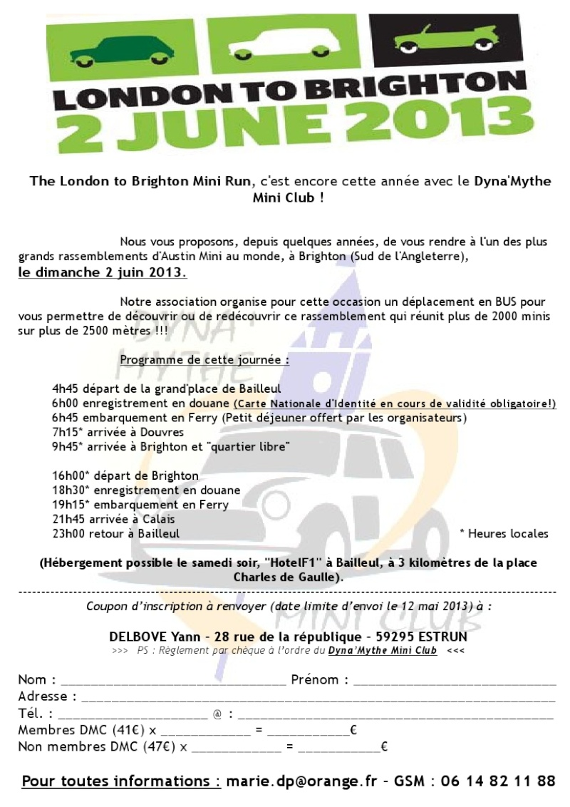 London to Brighton Mini Run - Dimanche 2 juin 2013 - Bus DMC Formul10