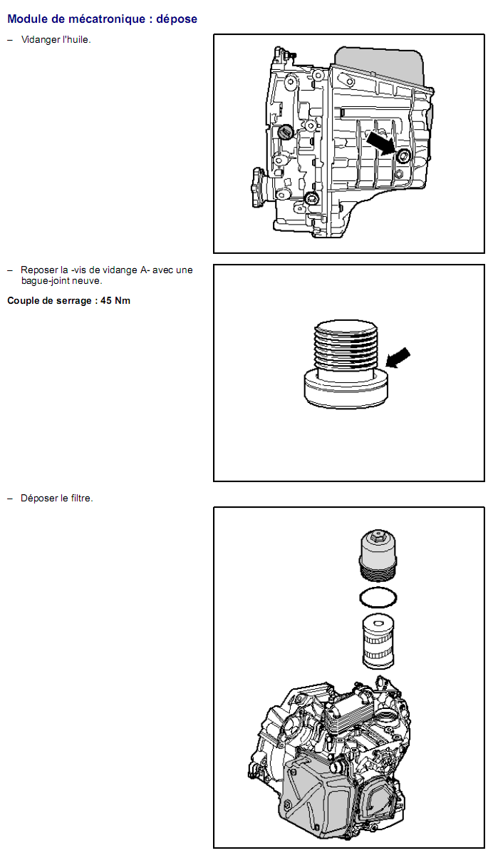 Description et Réparation - Boite DSG 02E  Dsg2110