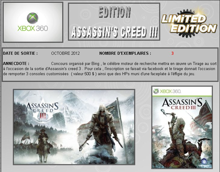 XBOX 360 : Edition ASSASSIN'S CREED 3 Assass10