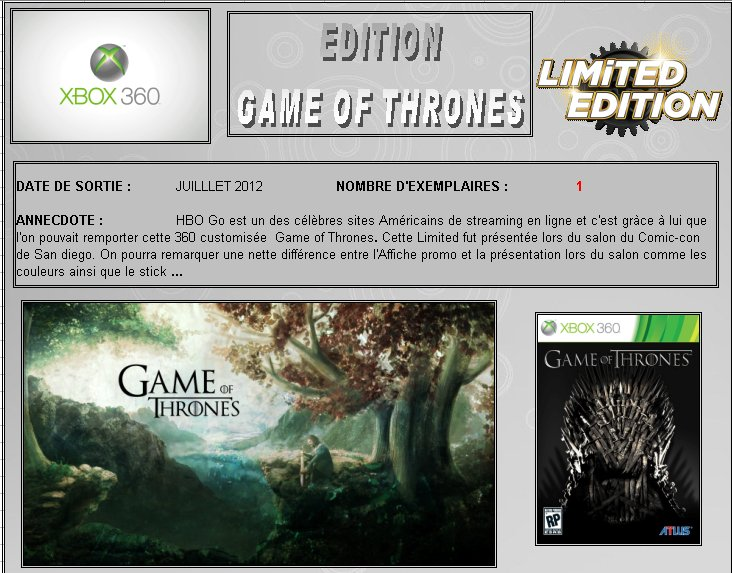 XBOX 360 : Edition GAME OF THRONES Game_o10