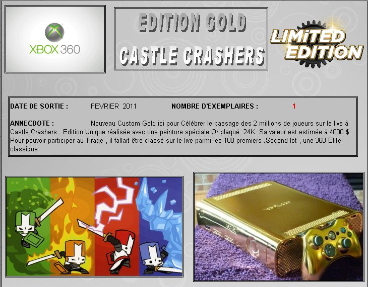 XBOX 360 : Edition GOLD CASTLE CRASHERS Version   Gold_c10