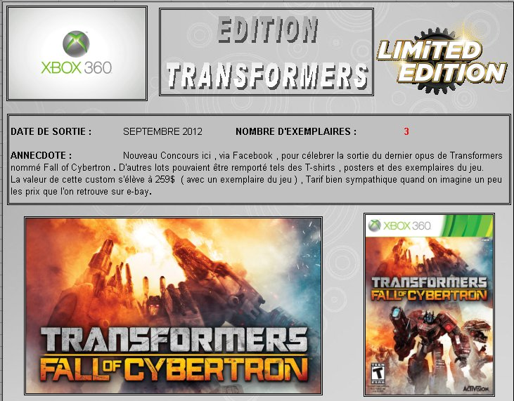 XBOX 360 : Edition TRANSFORMERS Fall of Cybertron Transf10