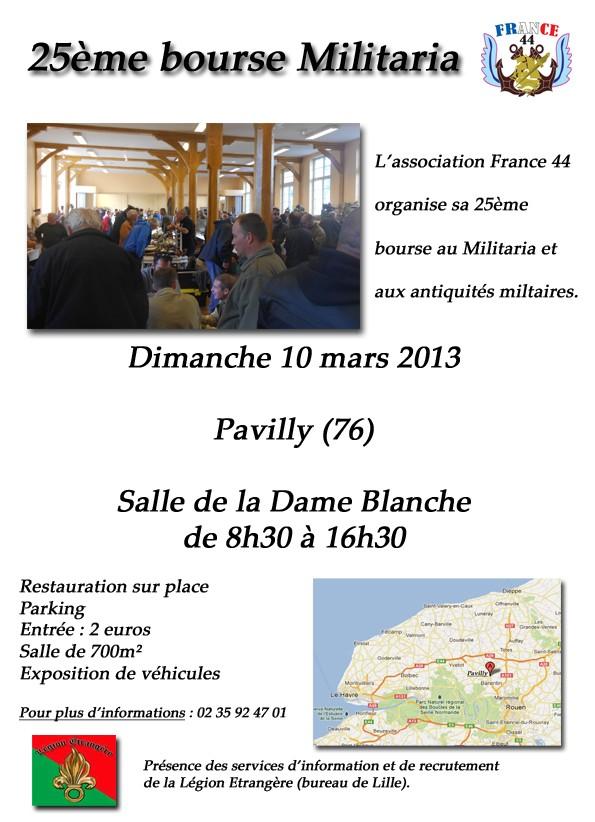 dimanche 10 mars 2013,25e bourse militaria à Pavilly(76) Affich11