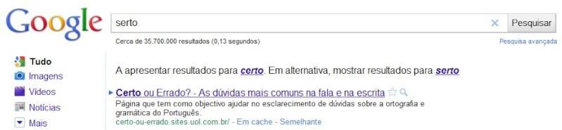 Será que o google está sempre serto?!!! Sertol10