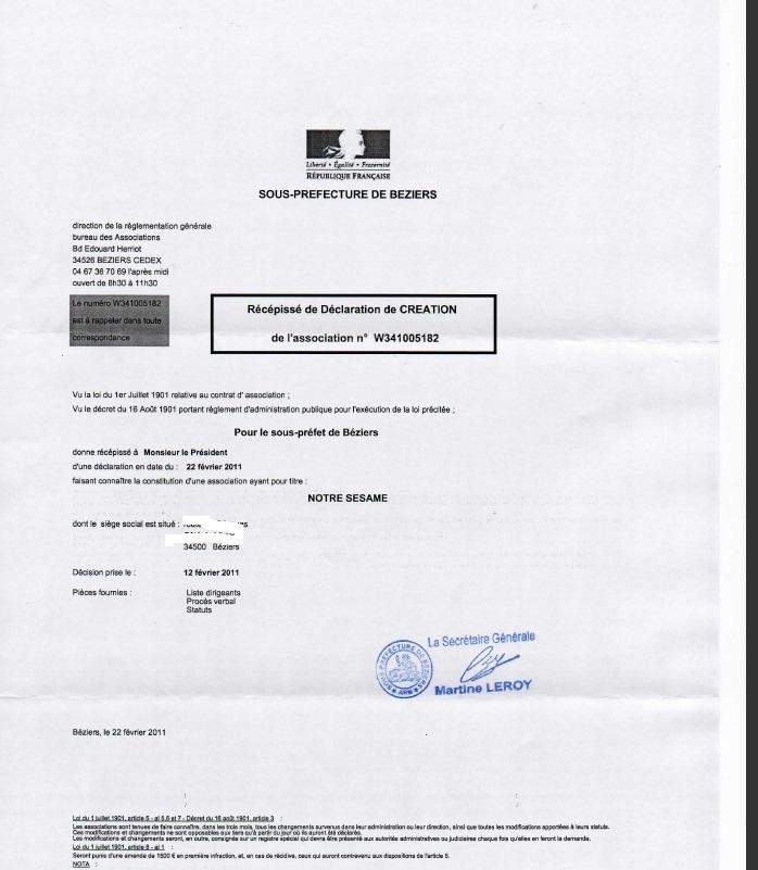 Récépissé de Déclaration en Préfecture Recepi12