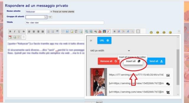 Come allegare le foto nei messaggi con SERVIMG 0510