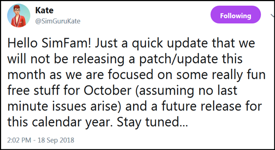 No September patch but New Content in the Works Kate10