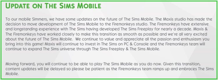 The Sims Mobile Moving to Firemonkeys studio Simsmo10