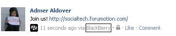 Facebook via Blackberry 210