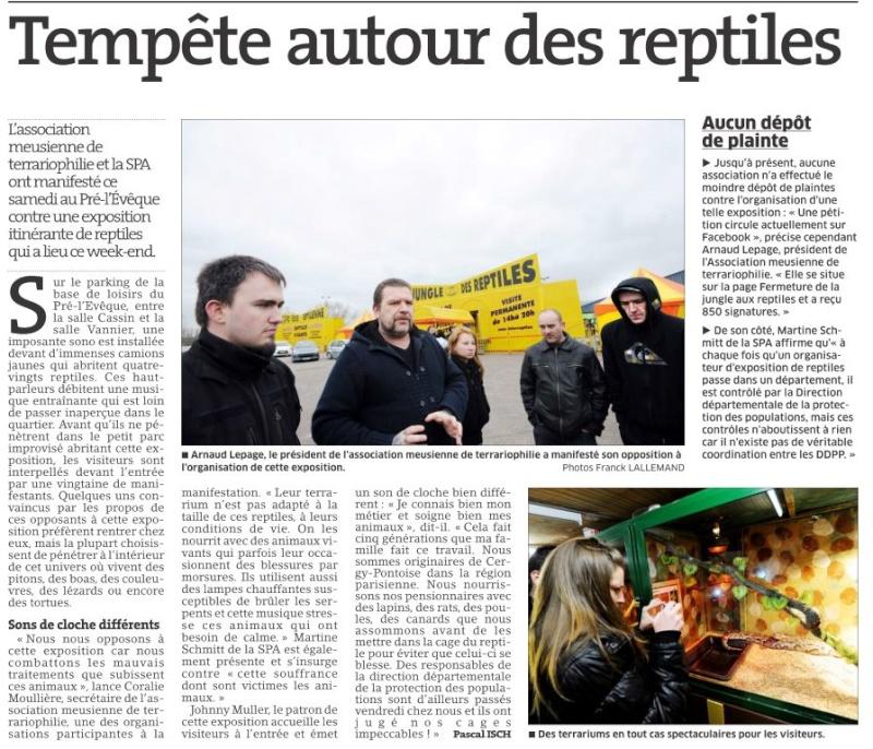 Manifestation contre les camions jaunes exposant des reptiles !! (Verdun L' Est Républicain) Articl10