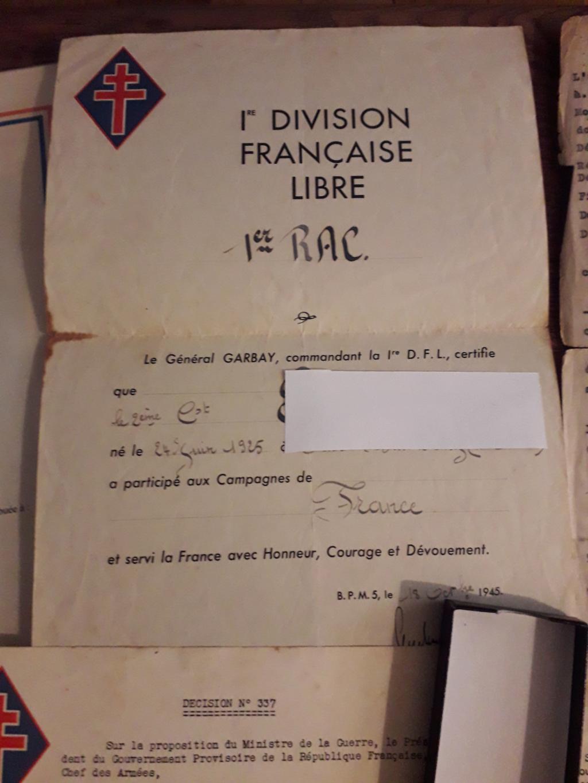 Papiers d'engagements, diplome , medaille du grand père 20181112