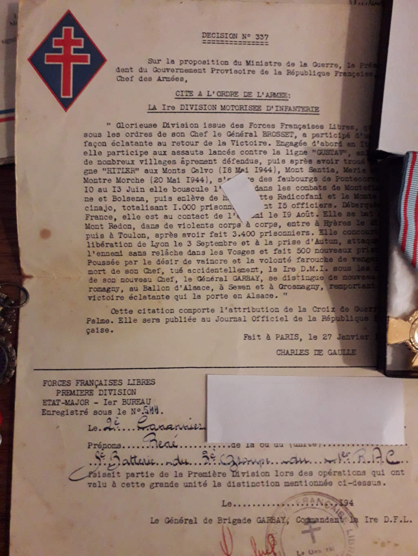 Papiers d'engagements, diplome , medaille du grand père 20181115