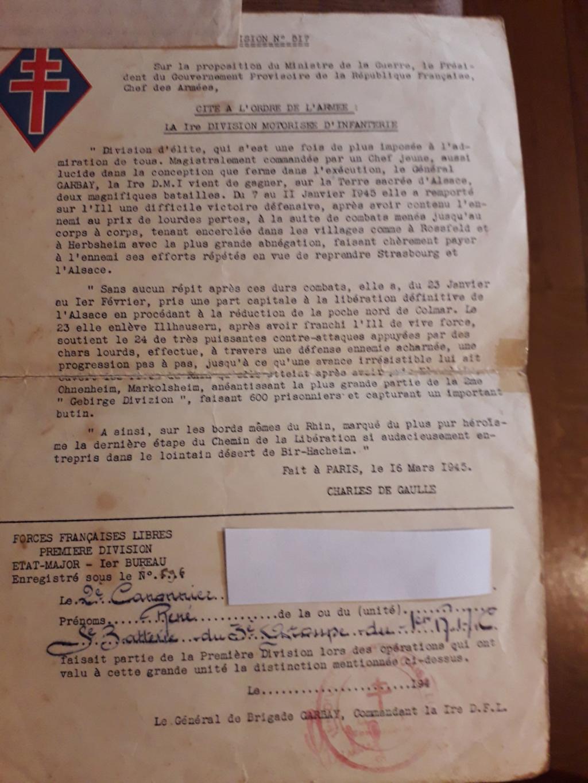 Papiers d'engagements, diplome , medaille du grand père 20181116