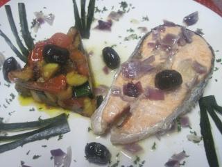 Darne de saumon rose aux légumes.photos. Darme_10