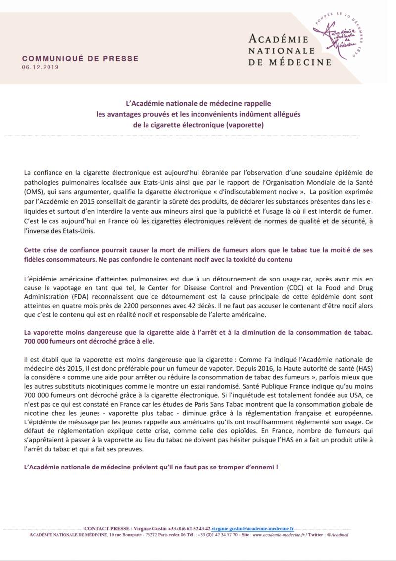 Communiqué de l'Académie Nationale de Médecine du 6 décembre 2019 Acadzo11