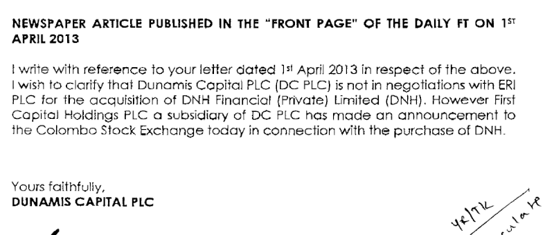 02-Apr-2013 Dunamis Capital - Clarification Re: A Newspaper Article Dunami10