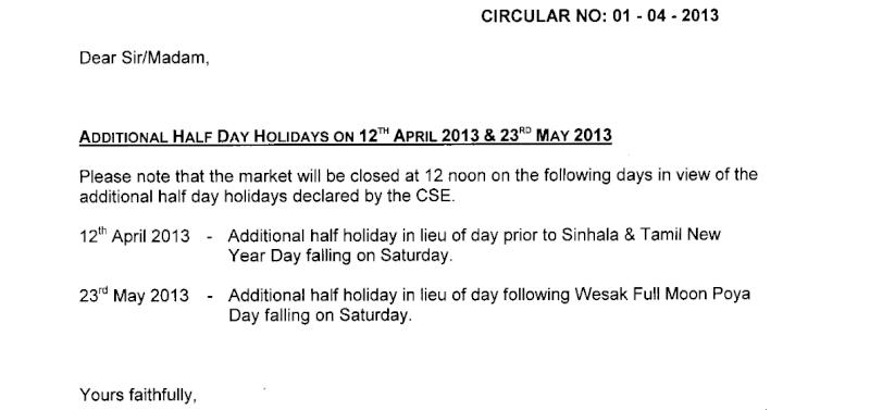 Additional half day Holidays on 12th April 2013 & 23rd May 2013 Holida10