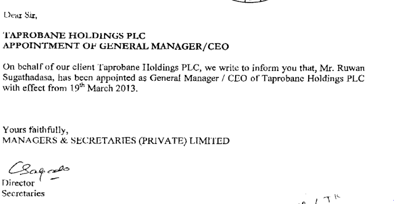 Taprobane Holdings-Appointment of General Manager/CEO Tap10