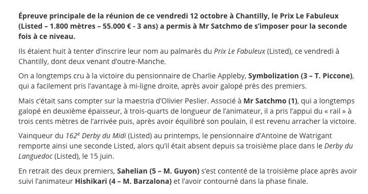Le compteur de victoires : 2789, 12/10/18, Mr Satchmo Peslie11