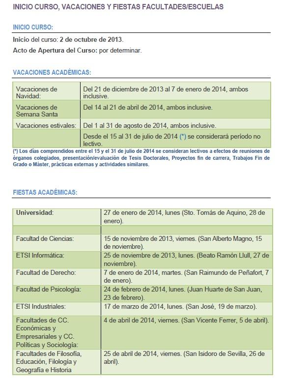 Calendario académico curso 2013/2014 Calend14