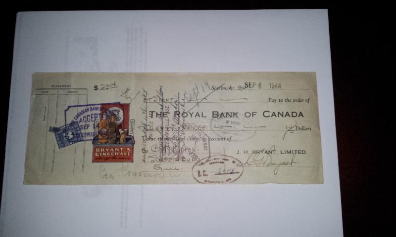 Chèque Bryant's de 1944 01811