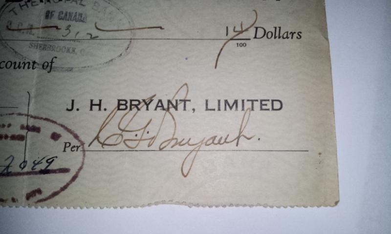 Chèque Bryant's de 1944 02412