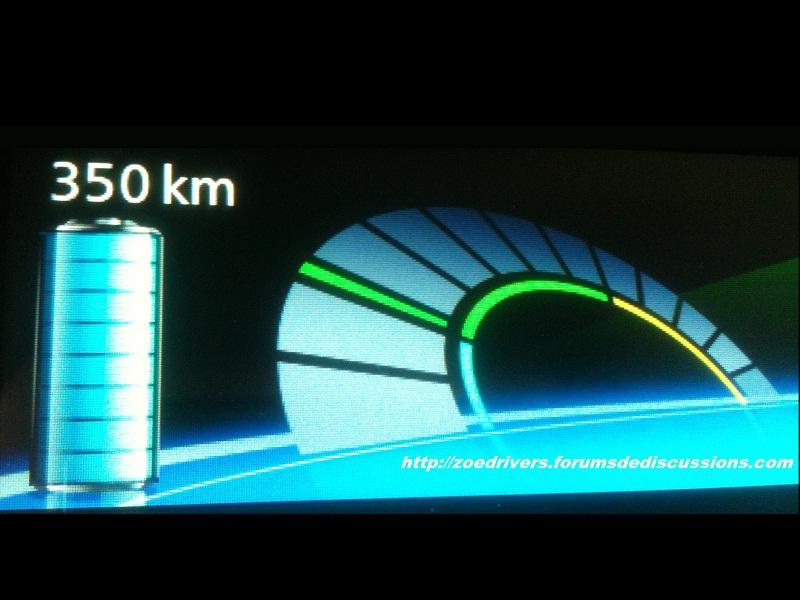 Autonomie maximum affichée pour Zoé 350_km10