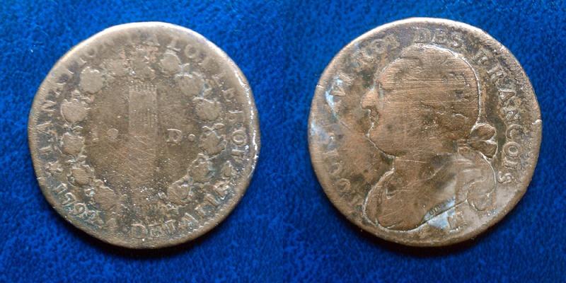 Monnaie Louis XVI - 2 pièces (12 deniers & 2 sols) Piece110