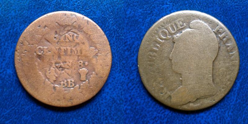 Monnaie à identifier - 5 centimes l'an 8 Piece310