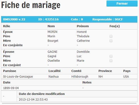 Mariage d'Honoré Morin et Adèle Gagnon Mhonor10