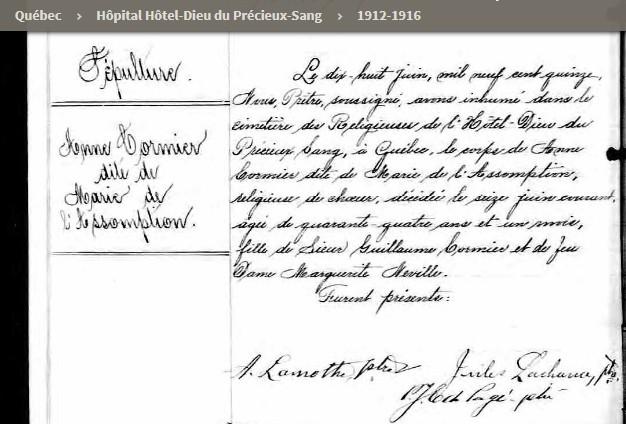 CORMIER Anne (1871-1915) Sr Marie-de-l'Assomption Sannec10