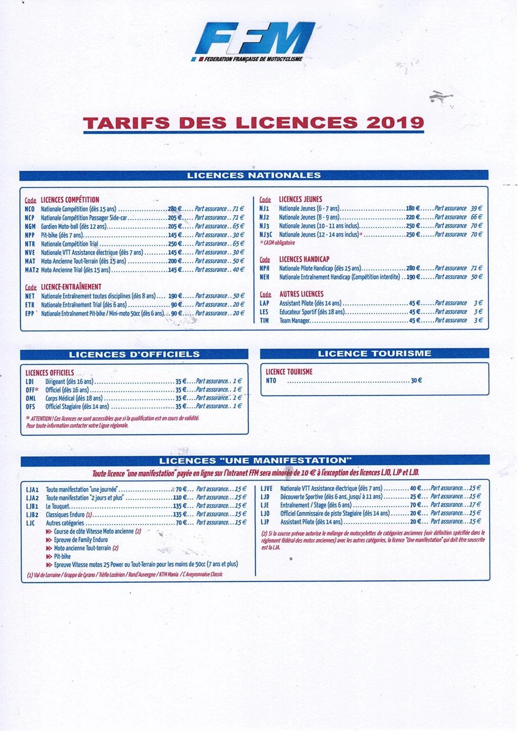 TARIFS LICENCES FFM  2019 Img03510
