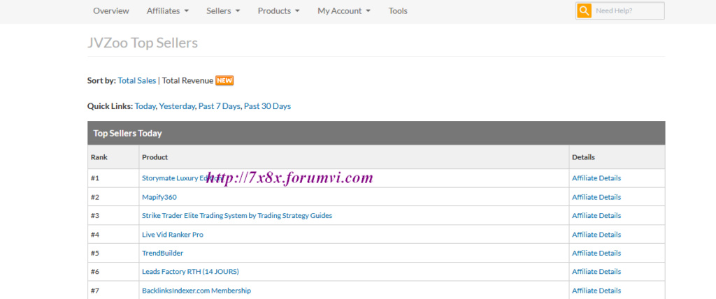 Hướng dẫn tạo link tiếp thị liên kết trong Jvzoo Screen21
