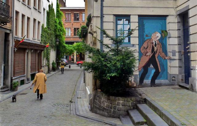 Scène de rues bruxelloises Tintin10